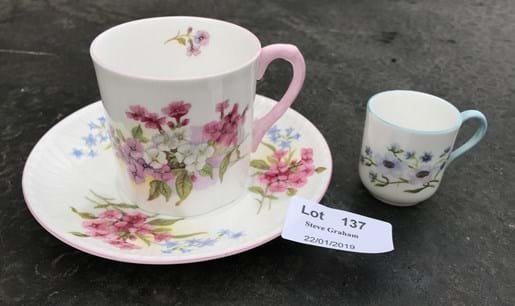 LOT 137	~	Shelley Cup & Saucer + Mini Cup