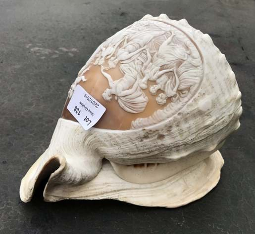 LOT 138	~	Carved Conch Shell with Allegorical Theme