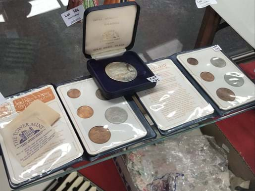 LOT 145	~	1983 Royal Wedding Silver Memorial Coin & 2 Folders British First Decimal Coins