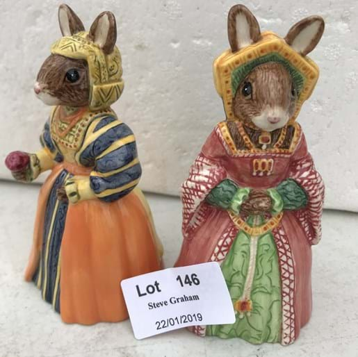 "LOT 146	~	2 Royal Doulton Bunnykins Figures - ""The Tudor Collection"" Jane Seymour (DB308) Anne of Cleves (DB309)"