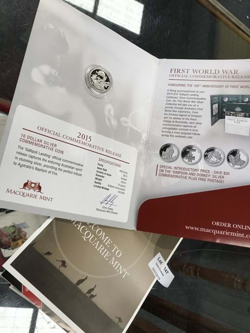 LOT 147	~	100 Years of Gallipoli 2015 $10 Commemorative Coin