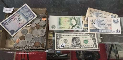 LOT 148	~	Box of Foreign Bank Notes & Coins