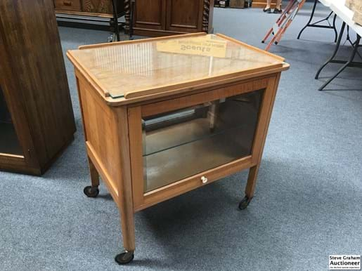 LOT 155	~	Mid Century Auto Trolley with Lift Up Side Glass Doors