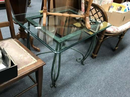 LOT 161	~	Heavy Metal Glass Top Coffee Table