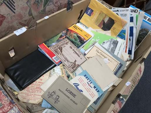 LOT 166	~	Box of Postcards, Picture Cards, Ephemera, Maps etc
