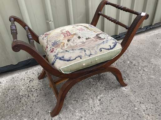 LOT 168	~	Edwardian Tapestry Cushioned Stool