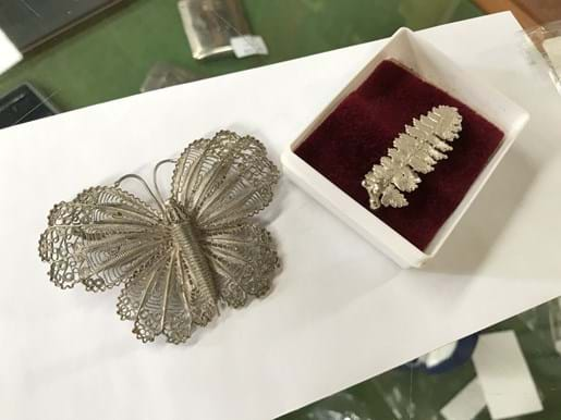 LOT 186	~	Silver Leaf & Silver Butterfly Brooches