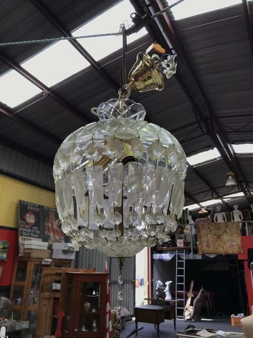 LOT 234	~	2 Crystal Chandeliers & Milk Glass Light Shade