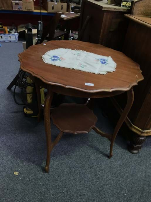 LOT 247	~	Shield Top 2 Tier Table