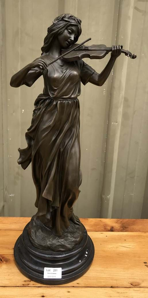 LOT 251	~	Bronze Figure of a Lady with Violin
