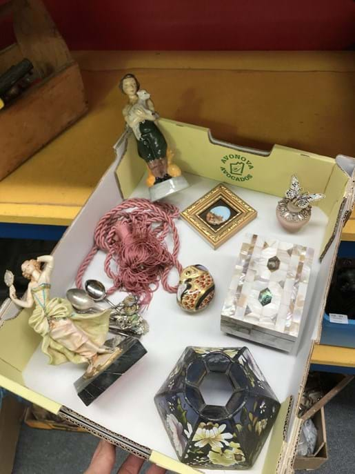 LOT 296	~	Box of Royal Crown Derby, Light Shade, Figurines, Jewel Box etc