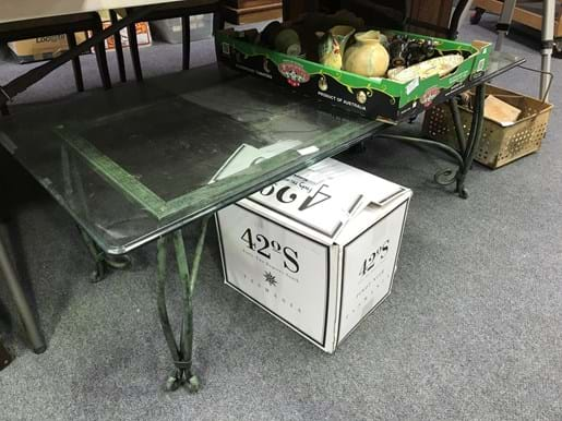 LOT 351	~	Large Heavy Framed Glass Top Coffee Table